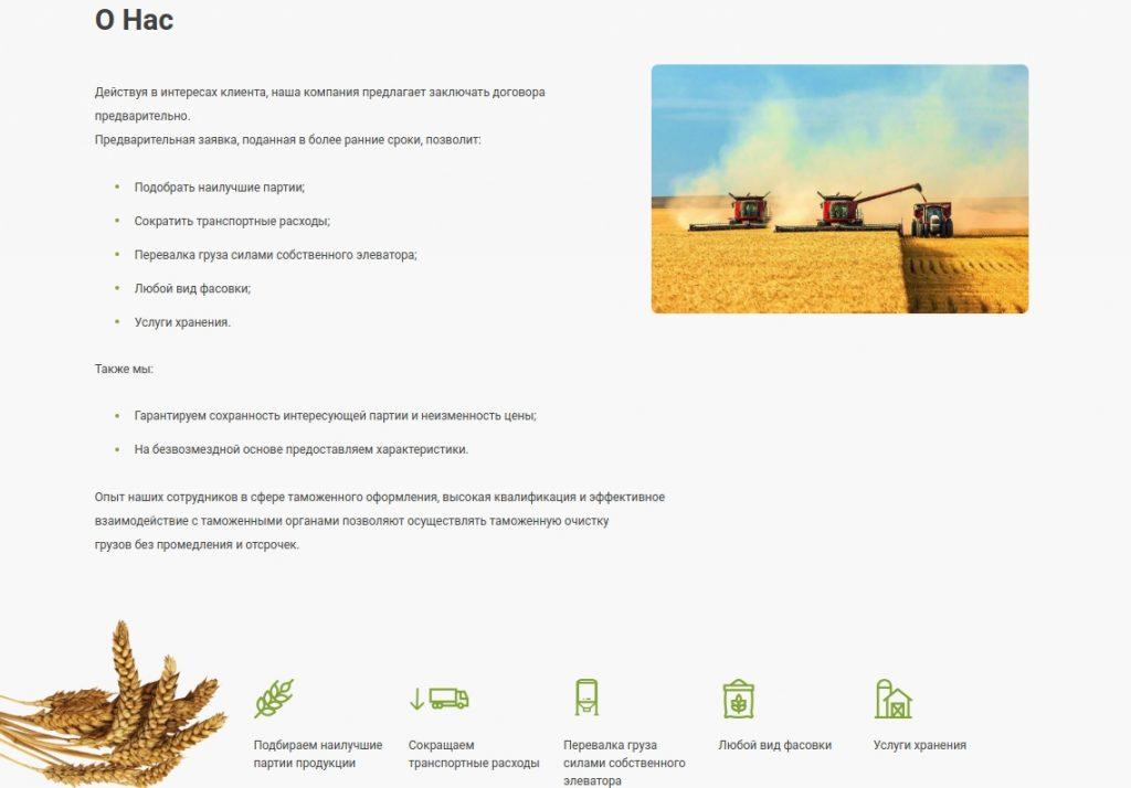 """макет страницы """"о нас"""" для сайта компании """"АгроТрейдЭкспорт"""""""